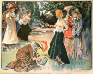 През XIX век навсякъде е можело да се видят картини или картички с дуелиращи се топлес жени.